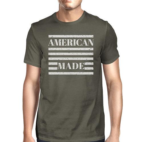 American Made Mens Dark Grey T Shirt Vintage Printing Graphic Shirt