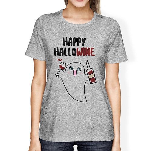 Happy Hallowine Ghost Wine Womens Grey Shirt