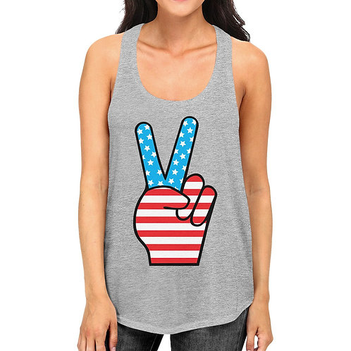 Cute Peace Sign Womens Tanks Unique American Flag Gray Tank Top