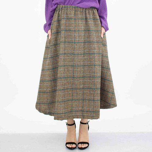 Plaid Flare Midi Skirt With Side Pockets - Blue