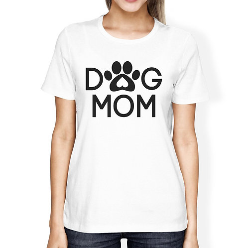 Dog Mom Women's White Graphic T Shirt Dog Paw Design Gift Ideas