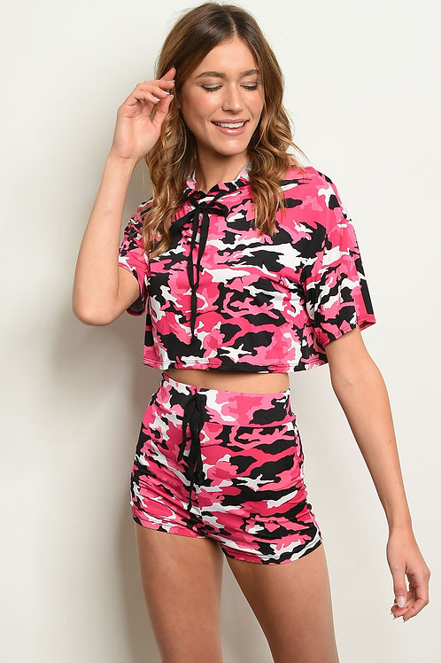 Pink Camouflage Top & Shorts Set