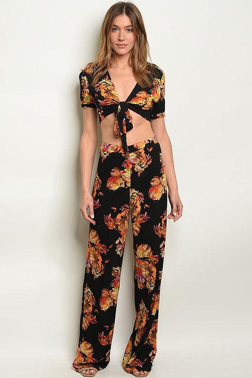 Black Floral Top & Pants Set