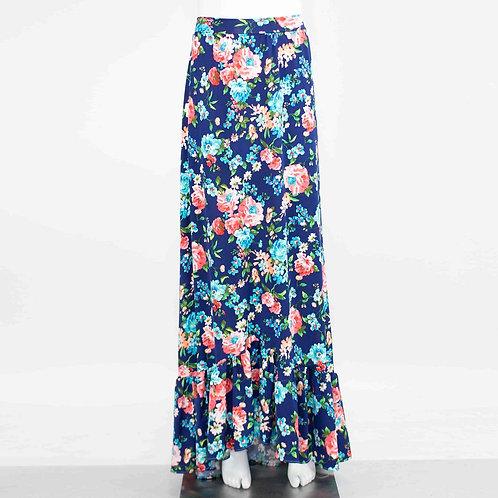 Flared Bottom Flower Maxi Skirt