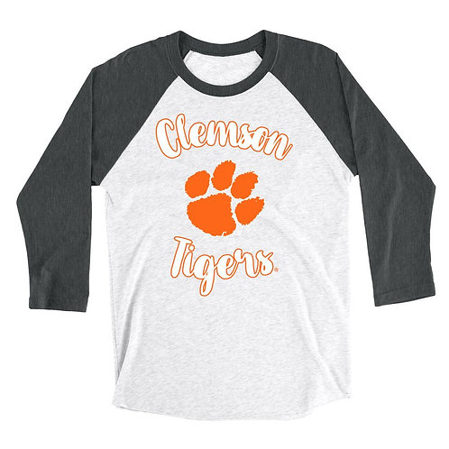 Official NCAA Clemson Tigers - RYLCL02 Mens / Womens Boyfriend Triblend Raglan