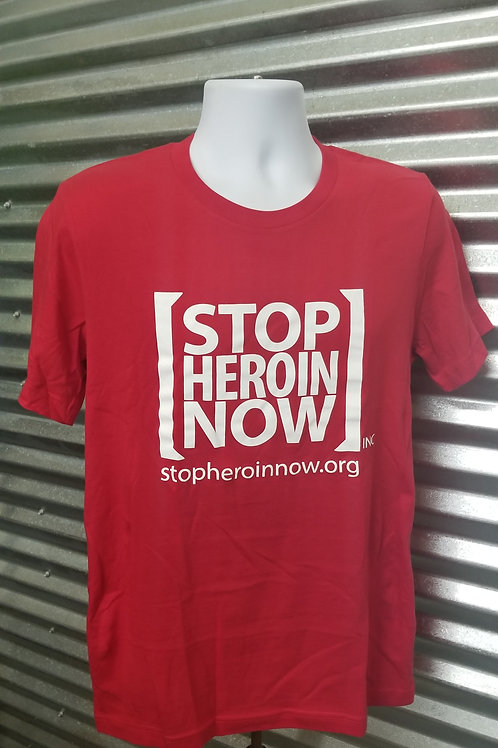 Adult - Unisex Crew Neck Stop Heroin Now T-Shirt - Red/White