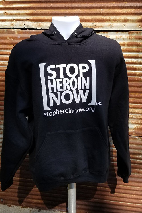 "Adult - Unisex ""Stop Heroin Now"" Black Hoodie"