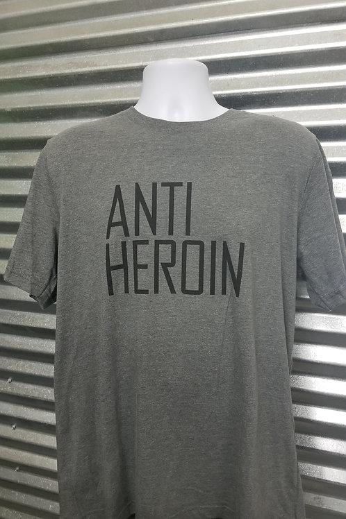 Adult - Unisex Crew Neck Anti-Heroin T-Shirt - Gray