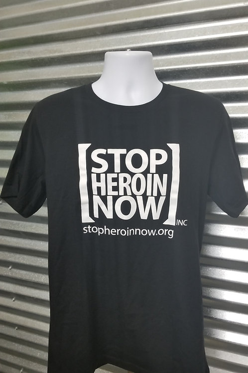 Adult - Unisex Crew Neck Stop Heroin Now T-Shirt - Black/White
