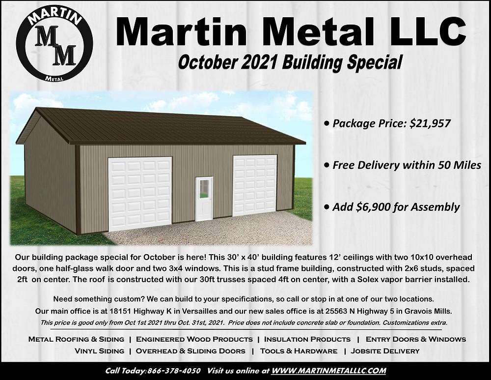 October 2021 Martin Metal Building Special Price