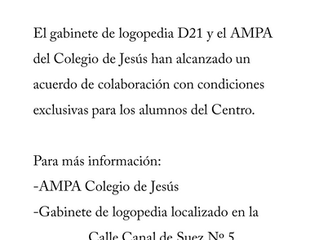 Gabinete logopedia D21 firma  acuerdo de colaboración con el Colegio de Jesús