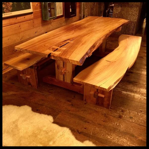 slab dining table and benches
