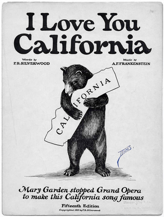 """Under the banner text that reads """"I Love You California"""" a grizzly bear stands on hind legs, embracing the state (Source: California State Library)"""