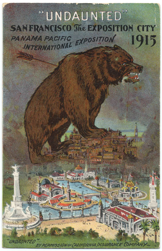 A color illustration of a giant grizzly bear standing on a hill, looming over the tiny buildings of the Exposition below