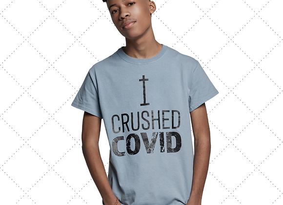 """I Crushed COVID"" T-Shirt Wholesale - Blue"