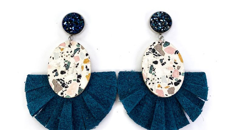 Stud with Teal Marble & Leather Fan Earrings
