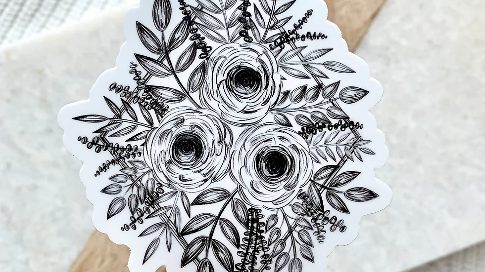 Sketched Floral Bouquet Sticker
