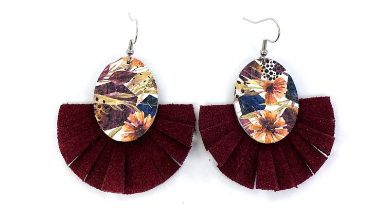 Floral & Burgundy with Leather Fringe Earrings