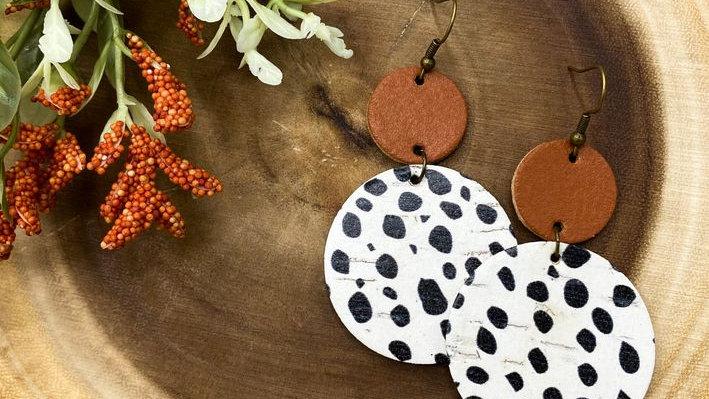 Danica Earring in Cognac and Dalmatian Dot