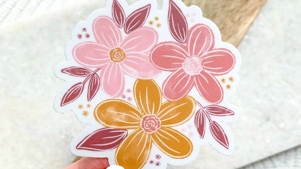 Pink & Yellow Floral Sticker