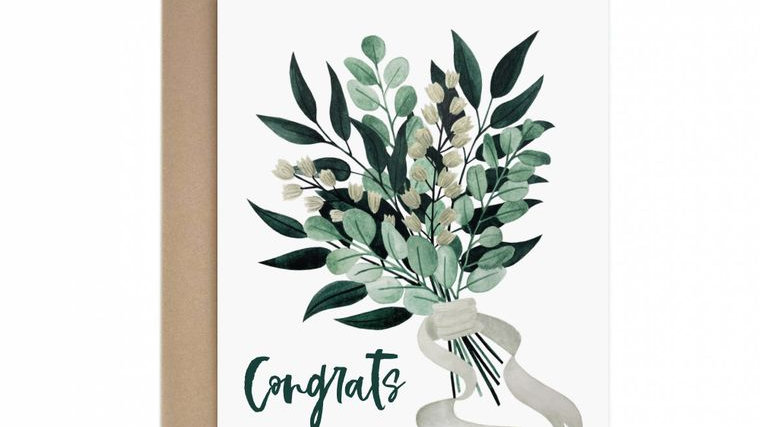 Congrats Foliage Bouquet Greeting Card