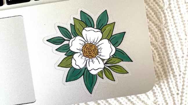 Clear White Flower Sticker