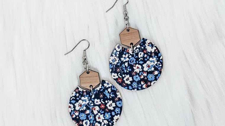 Patriotic Flowers Semi Circle Leather Earrings