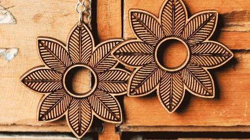 Minimalistic Boho Flower Wood Earrings