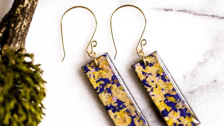 Violet And Gold Flake Earrings
