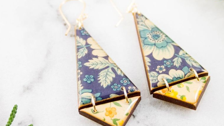 Double Triangle Earrings- Vintage Italian Florals