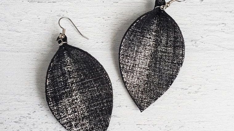 Black Linen Pinched Leather Earrings