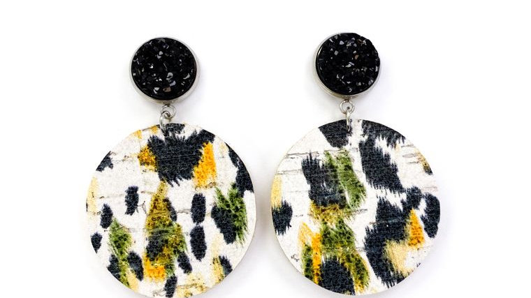 Stud with Mustard & Olive Leather Earrings