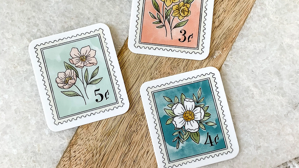 Antique Floral Stamp Sticker