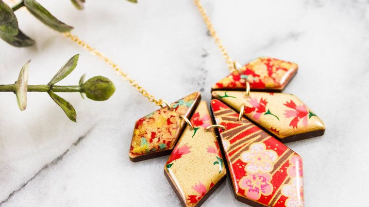 Red & Gold Geometric Petal Necklace