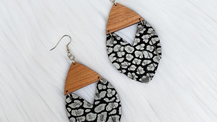 Black & Silver Leopard Fringe Wooden Earrings