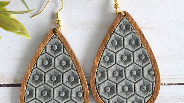 Gray Honeycomb Leather & Wood Teardrop Earrings