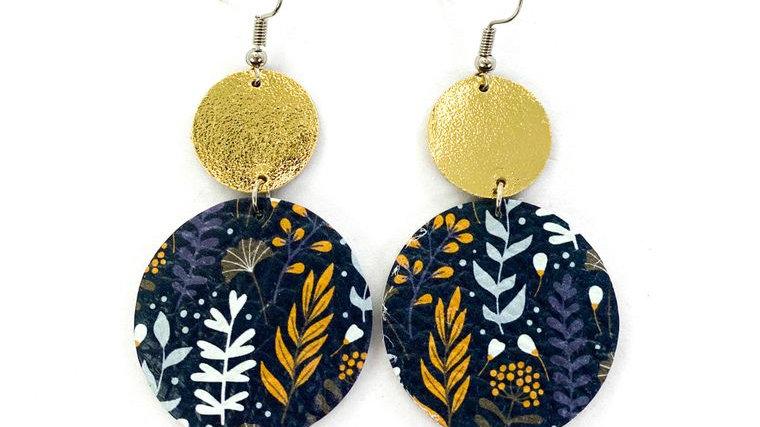 Navy & Wild Flower Leather Earrings