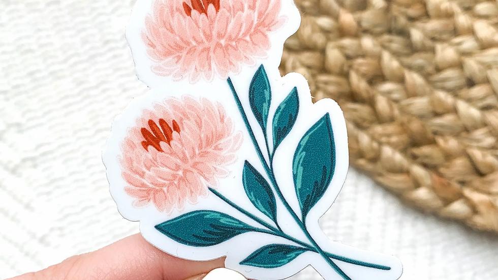 Pink Chrysanthemums Waterproof Sticker