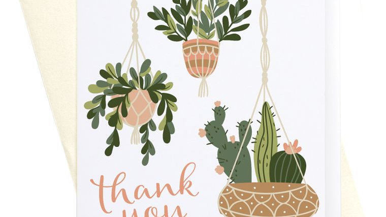 Thank You Hanging Plants + Succulents Greeting Card