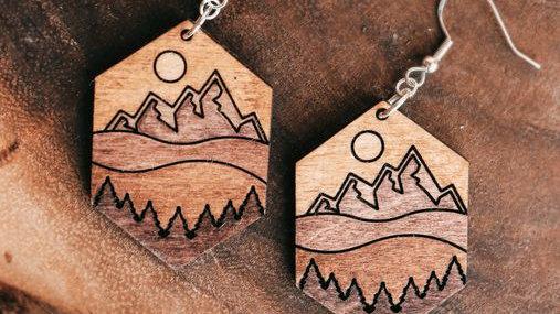 Hexagon Mountain Scene Earrings