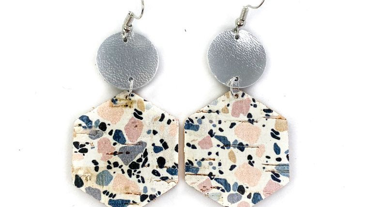 Soft Denim & Pink Granite Leather Earrings