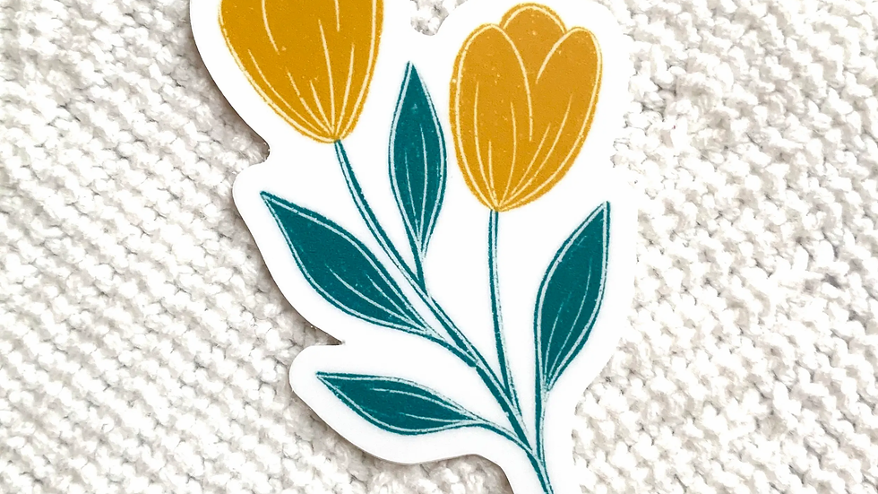 Yellow & Blue Tulips Sticker