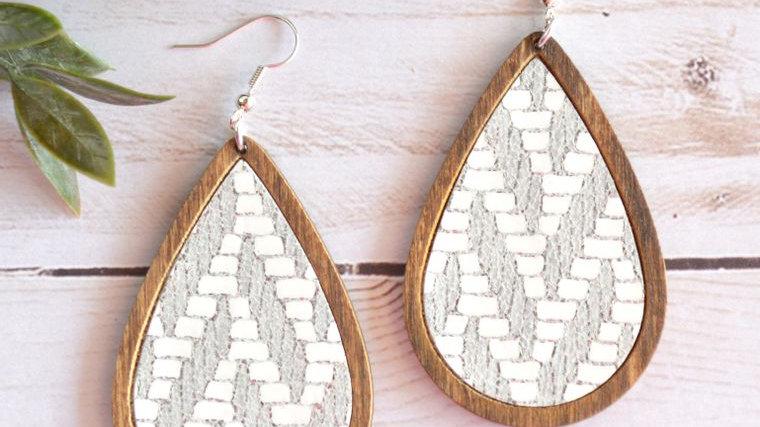 Chevron Leather & Wood Teardrop Earrings