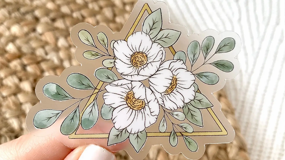 Clear Gold Triangle & Floral Sticker