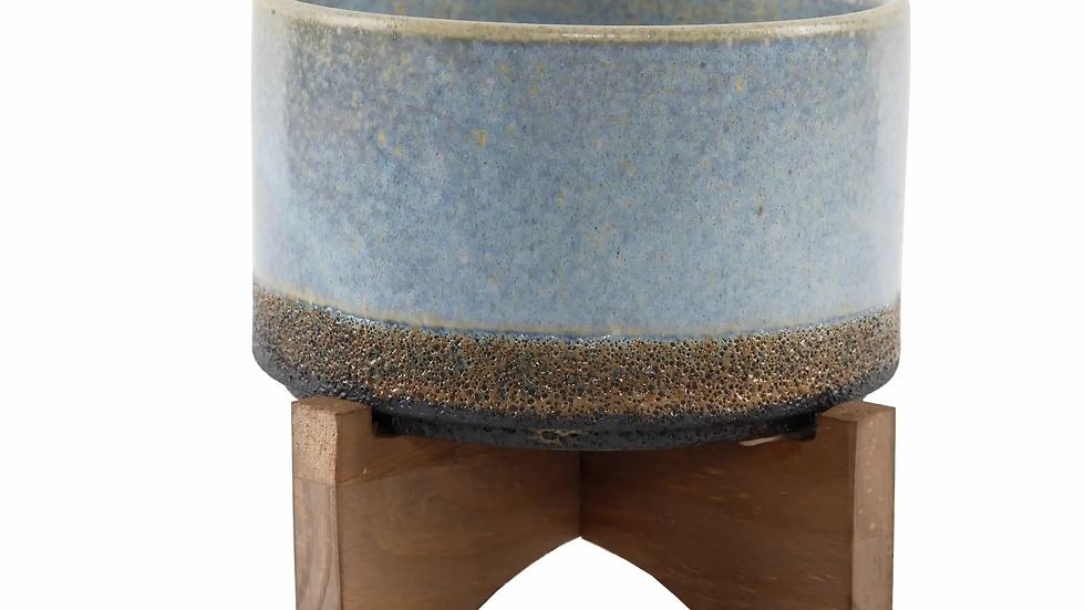 Lava Ceramic On Wood Stand, Blue