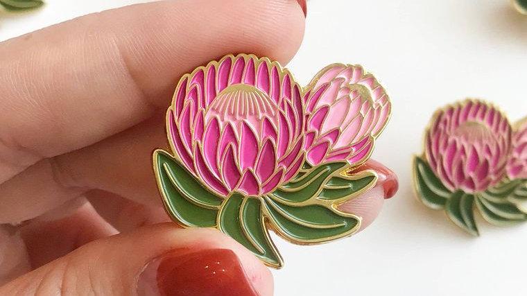 Protea Floral Lapel Pin