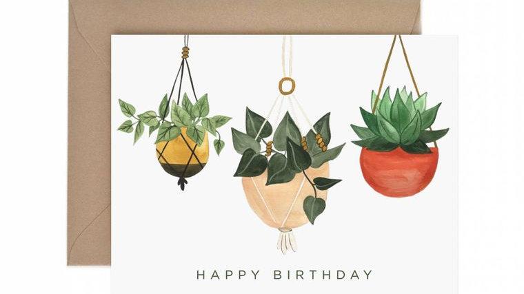 Hanging Planter Happy Birthday Greeting Card