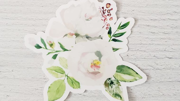 White Peony Bouquet Sticker