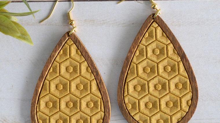 Mustard Honeycomb Leather & Wood Teardrop Earrings