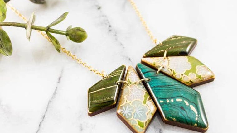 Turquoise & Green Geometric Petal Necklace
